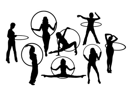 Hula Hoop Dancer Activity Silhouettes, art vector design