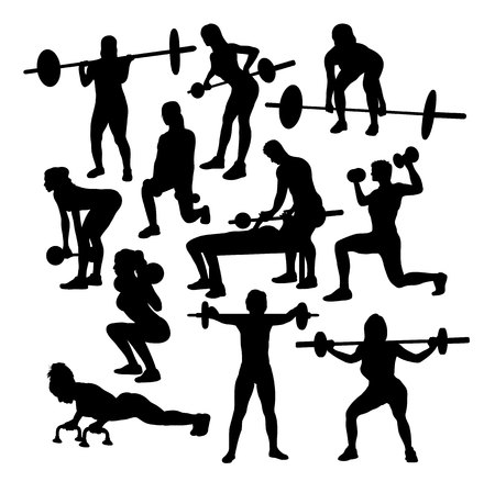 Women Gym Fitness Exercise Workouts Silhouettes, art vector design Illustration
