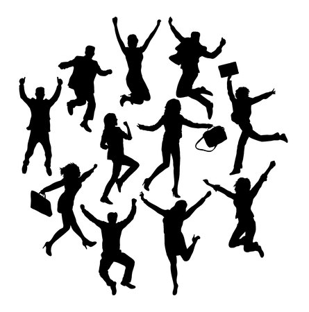Jumping Silhouettes With Happiness Expression, art vector design