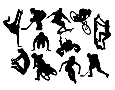 kungfu: Extreme Sport Activity Silhouettes, art vector design