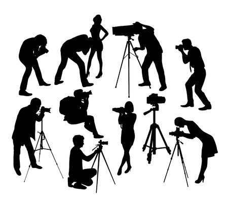 Photographer Hunting Silhouettes, art vector design