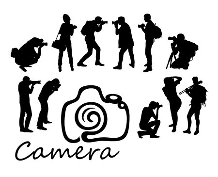 photographing: Photographer With Camera Silhouettes, art vector design.