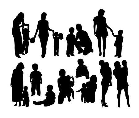 Happy Mother with Kid Silhouettes, art vector design.
