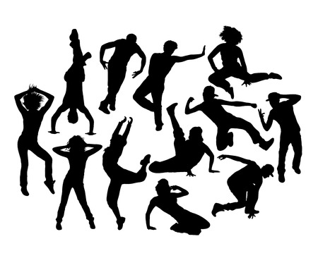 Cool Hip Hop Expression Silhouettes, art vector design