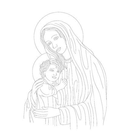 Virgin Mary with Baby Jesus, art vector design