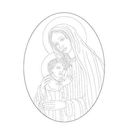 聖母マリアは息子、アートのベクトルのデザイン