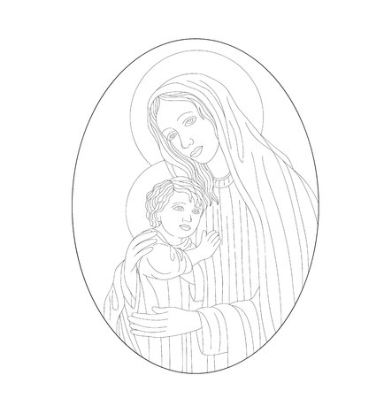 Virgin Mary with Son, art vector design
