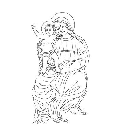 리틀 예수님과 성모 마리아, 예술 벡터 디자인