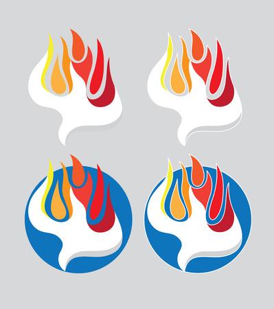 火聖霊なる神ロゴ、アートのベクトルのデザイン