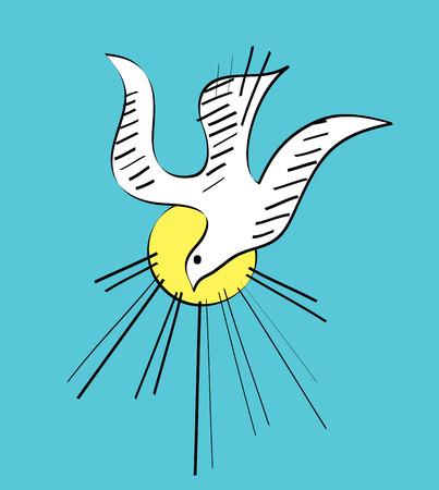 鳩は聖霊なる神図面、スケッチ アート ベクトル デザイン