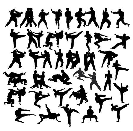 Martial Art Sport Silhouettes, art vector design