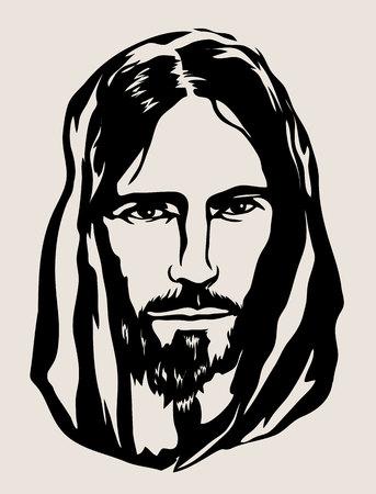 Jesus Face Silhouette, kunst vectorontwerp Vector Illustratie