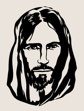 Sylwetka twarz Jezusa, sztuka wektor wzór Ilustracje wektorowe