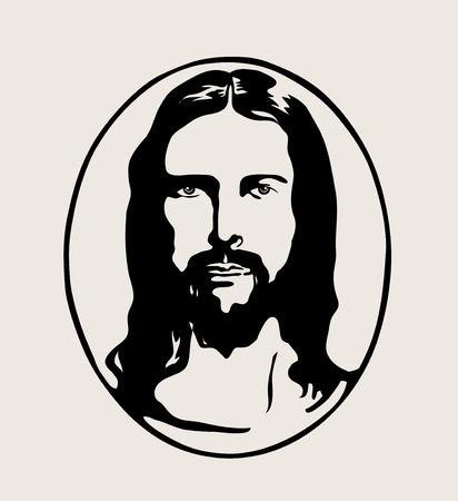 Jesus Face Silhouette Logo, art vector design