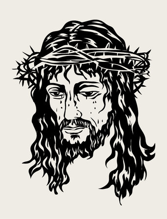 Jesus the Savior Sketch Drawing, art vector design Çizim