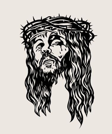 Volto di Gesù Cristo, disegno di disegno di schizzo di arte vettoriale