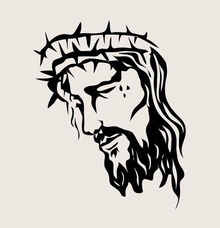 Cara de Jesucristo, diseño de dibujo de boceto de arte vectorial