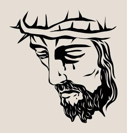 Jesus Christ Face, art vector sketch drawing design Illusztráció