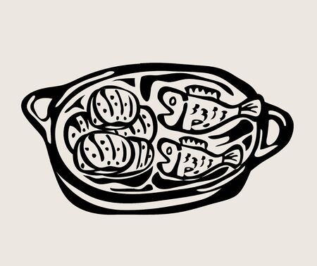Three Breads and Two Fishes, art vector design