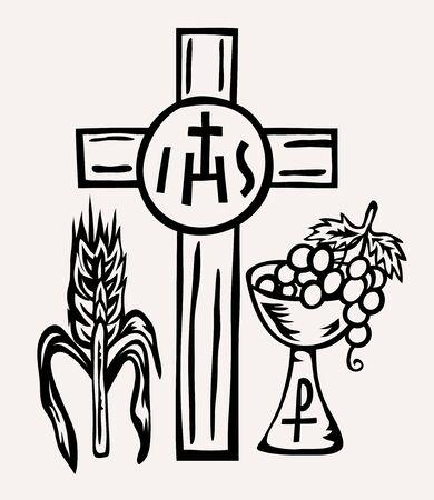 IHS Symbol Body and Blood of Jesus Christ, art vector design