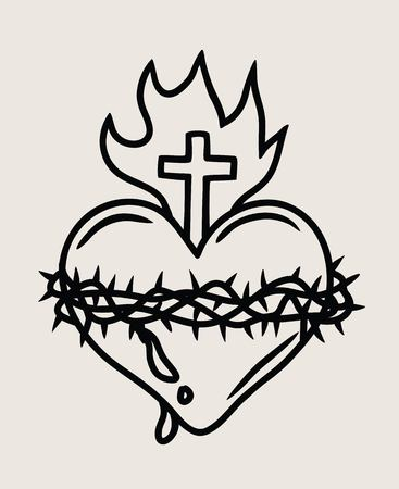 Heart with crown thorn and cross in outline illustration. Çizim