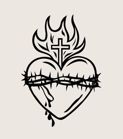 The Sacred Heart of Jesus, art vector design