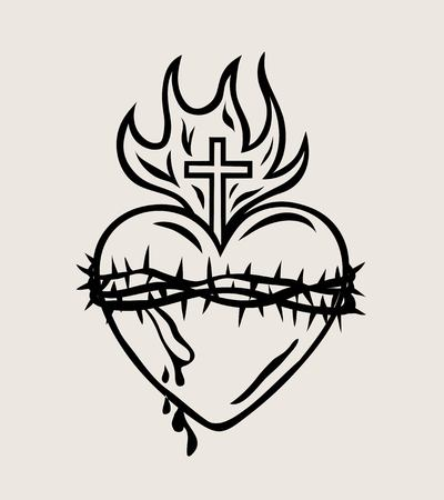 The Sacred Heart of Jesus, art vector design