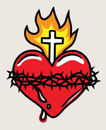 llIlustration of the Sacred Heart of Jesus, art vector design