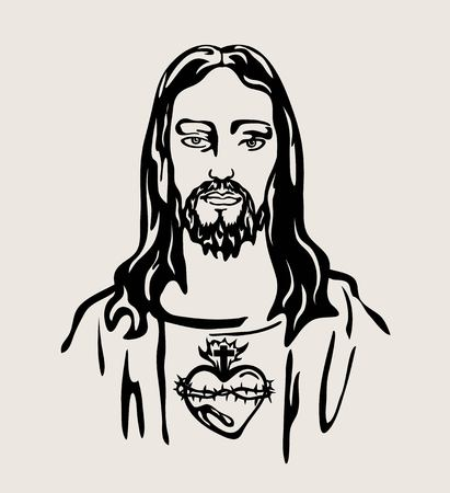 Jesus Christ with the Sacred Heart, art vector design