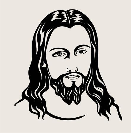 Jesus Christ face sketch art on silhouette black and white illustration.