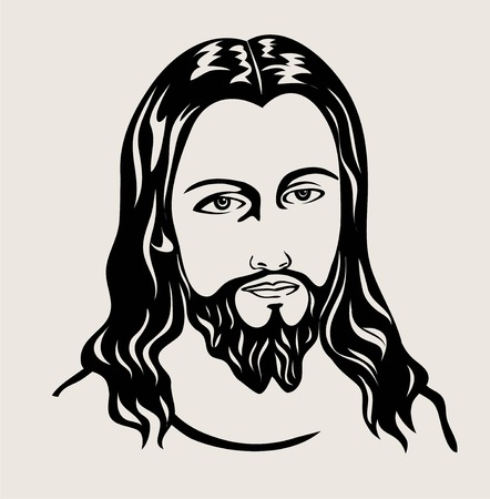 Jesus Christ face sketch art on silhouette black and white illustration.