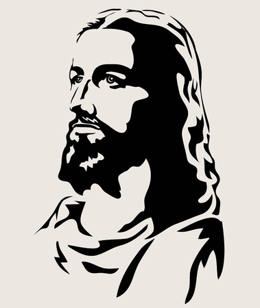 Jesus Face Silhouette, art vector design illustration
