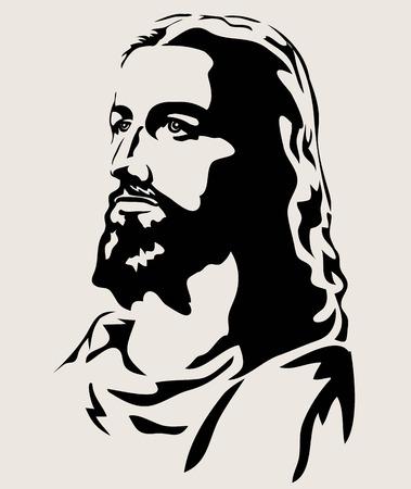Jesus Face Silhouette, art vector design illustration