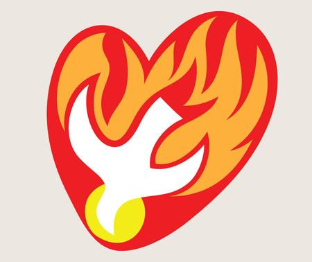 Holyspirit Love Fire Logo, art vector design