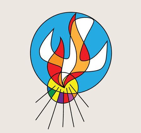 Holy spirit Logo, art vector design illustration Stock Illustratie