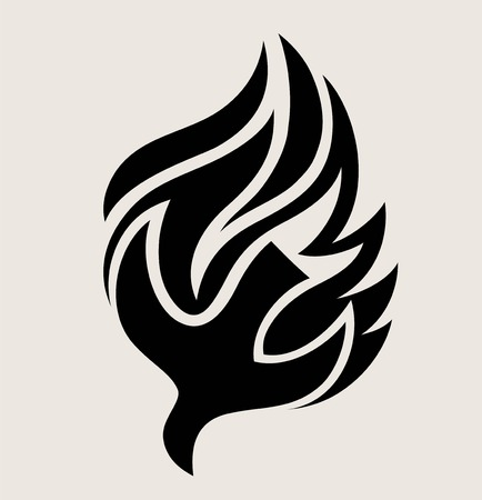 Holyspirit Fire Logo, art vector design illustration Çizim