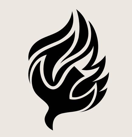 Holyspirit Fire Logo, art vector design illustration Stock Illustratie