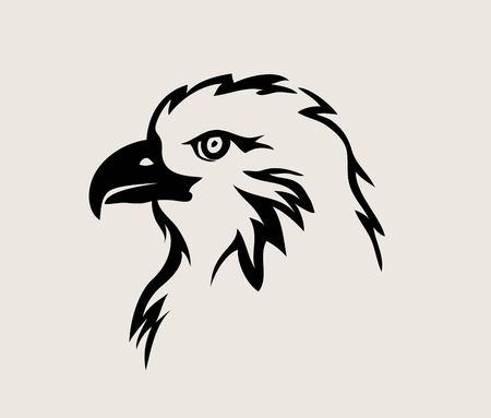 Eagle Face Tribal Logo, art vector design Illustration