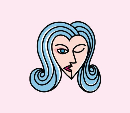 Love Face Logo, art vector design