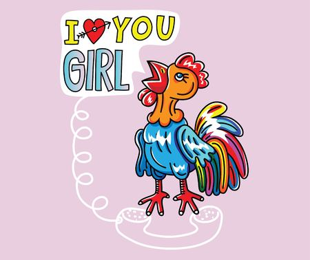 Rooster cal You girl Cartoon, art vector illustration design