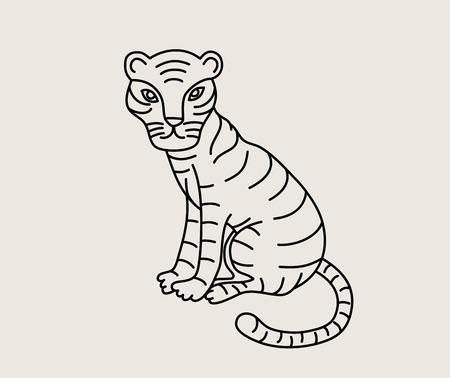 Little Tiger Line, art vector design