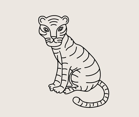 Little Tiger Line, art vector design