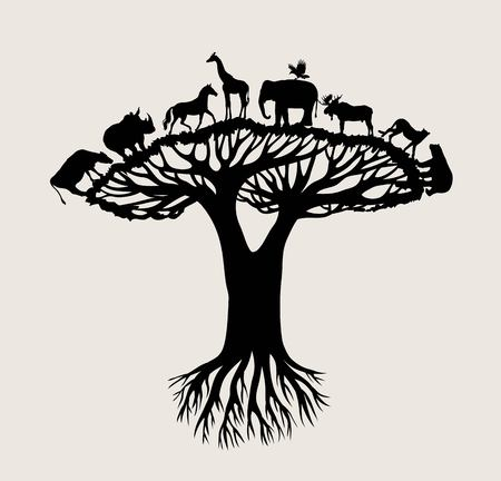 Tree Animal Silhouette, art vector design Stock Illustratie