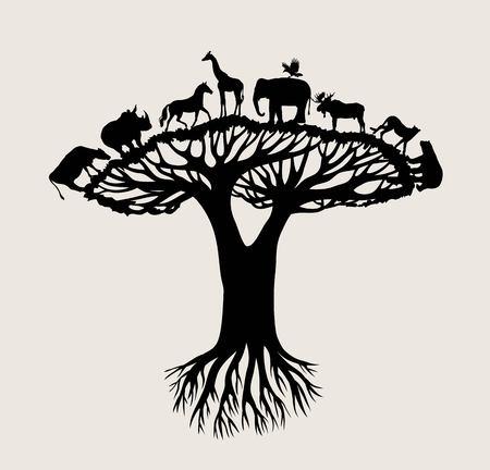Tree Animal Silhouette, art vector design Illustration