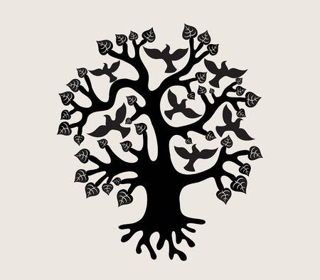 Tree with Birds Silhouette, art vector design Vettoriali