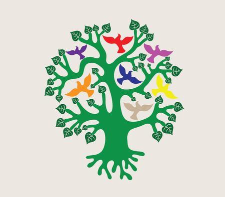 Tree with Birds Illustration, art vector design