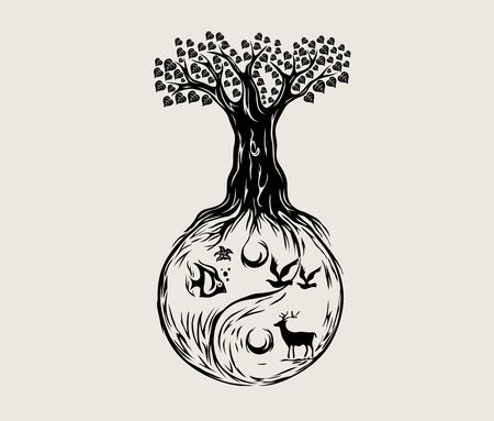 Ying Yang Tree, art vector design