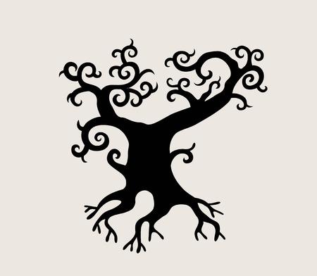 Exotic Tree Silhouette, art vector design Vettoriali