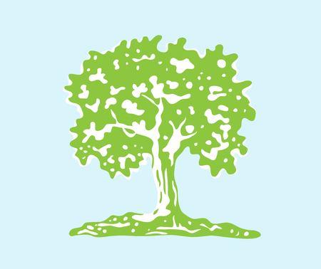 Tree Silhouette, art vector design Vettoriali