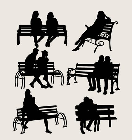 People Sit in the Garden Silhouettes, art vector design